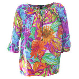 3x Multi Color Floral Print 3/4 Sleeve Blouse